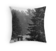 Snowy Garden Throw Pillow