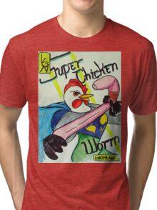 Super Chicken vs Worm Tri-blend T-Shirt