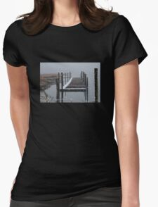 Snowy Day at the Nissequogue Boat Slips Womens Fitted T-Shirt