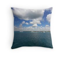Boats in Caribbean sea Throw Pillow