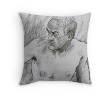 Face of a male nude model Throw Pillow