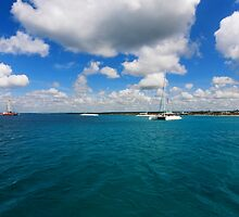 Catamarans in Caribbean sea by Tom Prokop