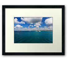 Catamarans in Caribbean sea Framed Print
