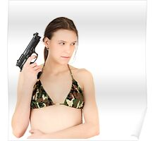 Young Girl with Gun Poster