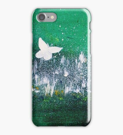 White Butterfly in clover blooms iPhone Case/Skin