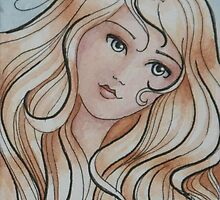 """ACEO Watercolor painting """"Allison"""" by Jaymilina"""