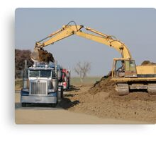 Heavy Machinery Excavating at a Construction Site Canvas Print