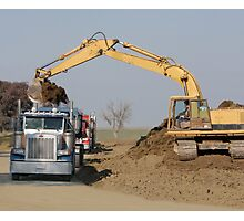 Heavy Machinery Excavating at a Construction Site Photographic Print