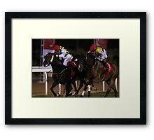 Horse Racing at night Framed Print