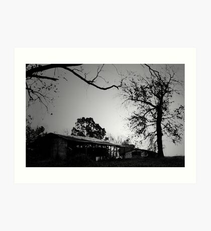 Two barns with trees Art Print