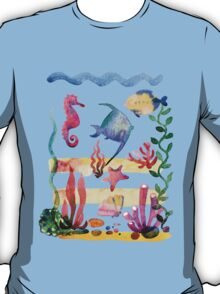 Set of different sea shells,corals and starfish. Watercolor illustration. Global color used. T-Shirt