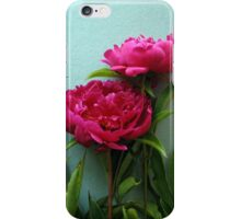 bunch of pink peony flowers against blue background iPhone Case/Skin