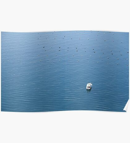 Top view of power boat in a sea Poster