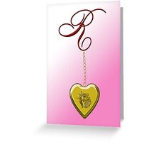 R Golden Heart Locket Greeting Card