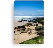 Beach with Mossy Rocks Canvas Print