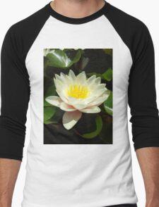 White Water Lily Flower Men's Baseball ¾ T-Shirt