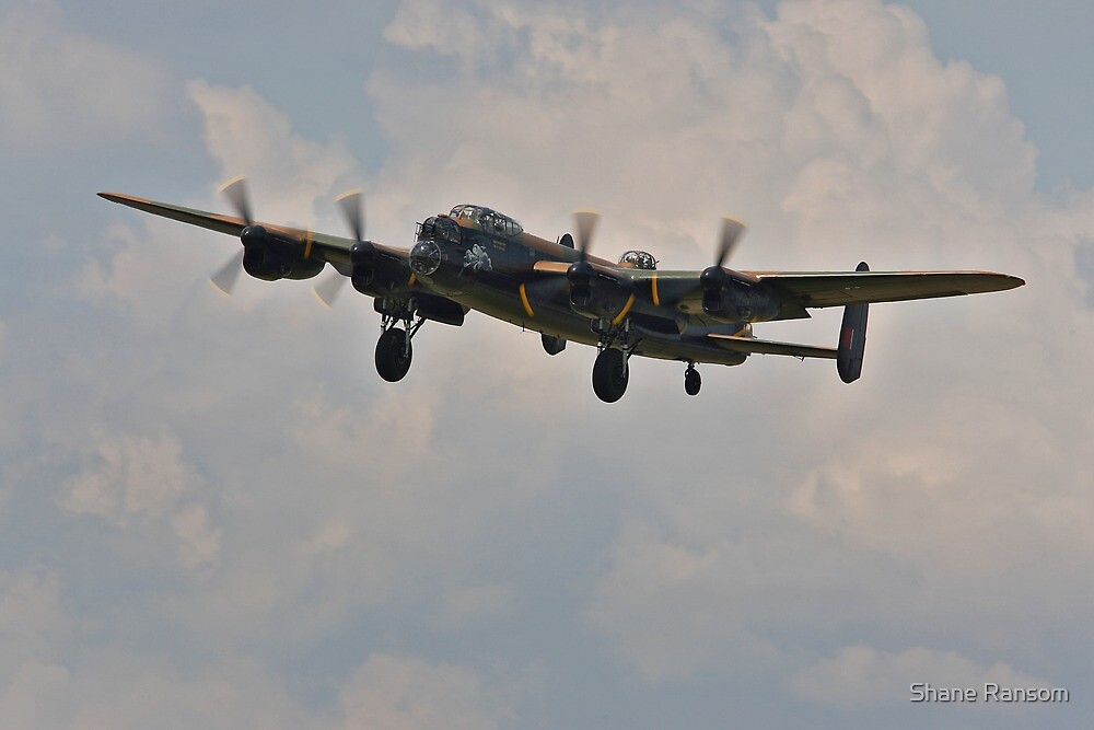 Lancaster Bomber on Final Approach by Shane Ransom