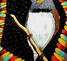 287 - RED ZEBRA FINCH - DAVE EDWARDS - COLOURED PENCILS & FINELINERS - 2010 by BLYTHART