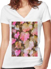 Autumn Leaves - Uralla NSW Australia Women's Fitted V-Neck T-Shirt