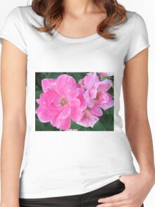 Light Pink Flowers Women's Fitted Scoop T-Shirt