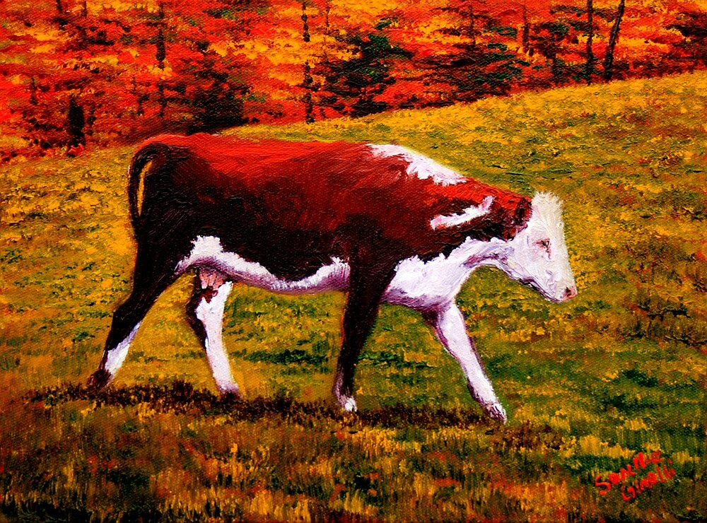 Cow in the Autumn Pasture by sesillie