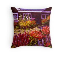 Purple House & Garden Throw Pillow
