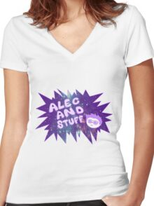 New alecandstuff Logo (Galaxies) Women's Fitted V-Neck T-Shirt