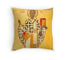 Old Russian icon of St.Nicholas Throw Pillow