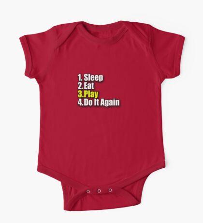 Sleep Eat Play - Have Fun T-Shirt - Enjoy Sticker - Kids Jumpsuit Motto  One Piece - Short Sleeve