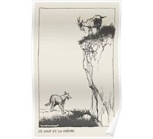 Aesop's Fables art by Arthur Rackham 1913 0144 The Wolf and the Goat Poster
