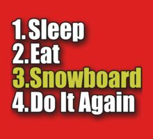 Snowboard T-Shirt - Snowboarder Sticker Decal Sleep Eat Play Kids Clothes