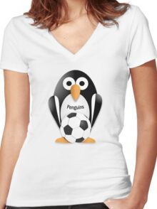 Penguin with soccer ball Women's Fitted V-Neck T-Shirt