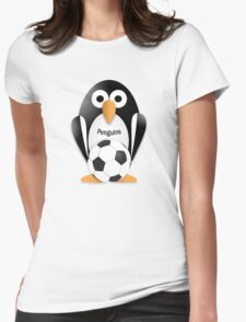 Penguin with soccer ball Womens Fitted T-Shirt
