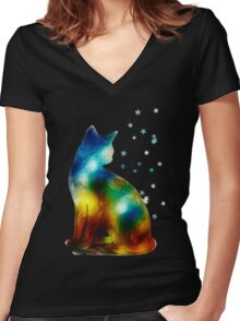 Galactic Space Cat On Milky Way, Cat, Space, Galaxy Women's Fitted V-Neck T-Shirt
