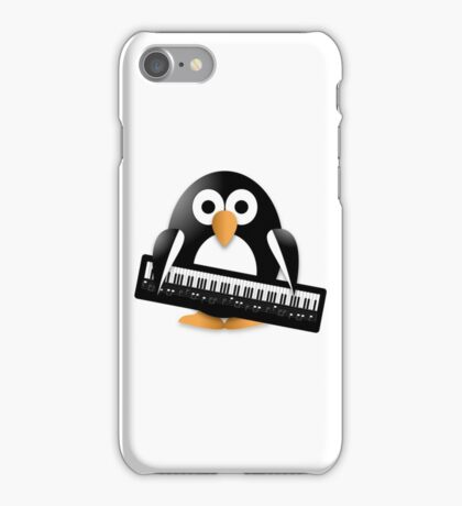 Penguin with piano keyboard iPhone Case/Skin