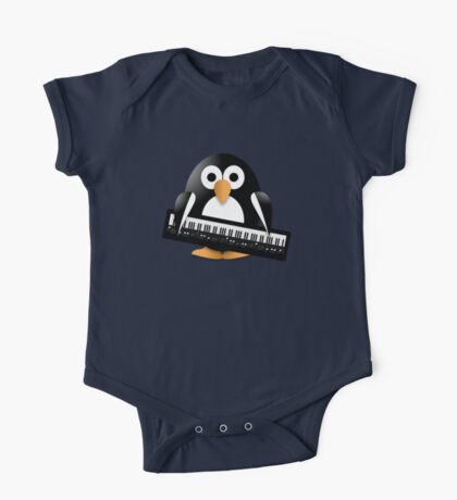 Penguin with piano keyboard One Piece - Short Sleeve