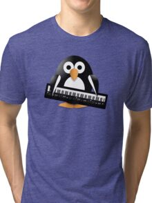 Penguin with piano keyboard Tri-blend T-Shirt