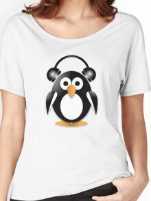Penguin with headphones Women's Relaxed Fit T-Shirt