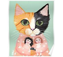 Calico Cat with Dolls Poster
