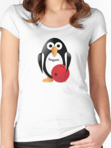 Penguin with bowling bow Women's Fitted Scoop T-Shirt