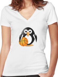 Penguin with a basketball ball Women's Fitted V-Neck T-Shirt