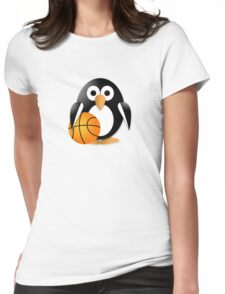 Penguin with a basketball ball Womens Fitted T-Shirt