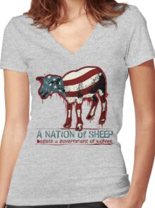 A Nation of Sheep Women's Fitted V-Neck T-Shirt