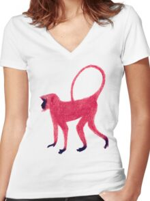 Red Monkey Women's Fitted V-Neck T-Shirt