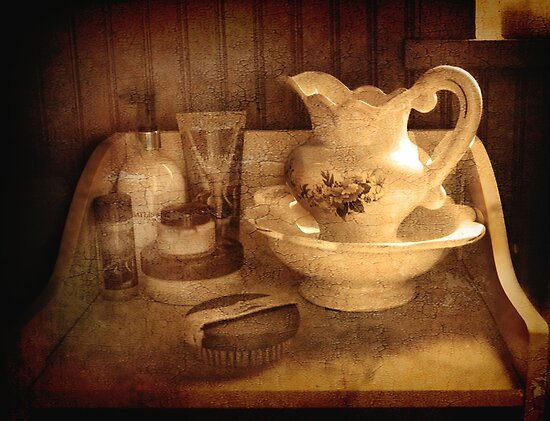 Still Life.     (Bathroom dresser  ) by Irene  Burdell