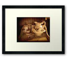 Still Life.     (Bathroom dresser  ) Framed Print