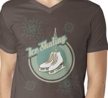 Iсe skating in retro style  Mens V-Neck T-Shirt
