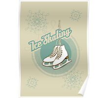Iсe skating in retro style  Poster