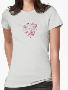 Heart and Flowers Womens Fitted T-Shirt