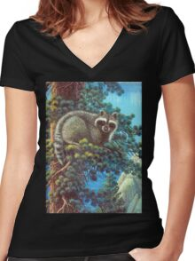 Treed Raccoon Lake Tahoe  Women's Fitted V-Neck T-Shirt